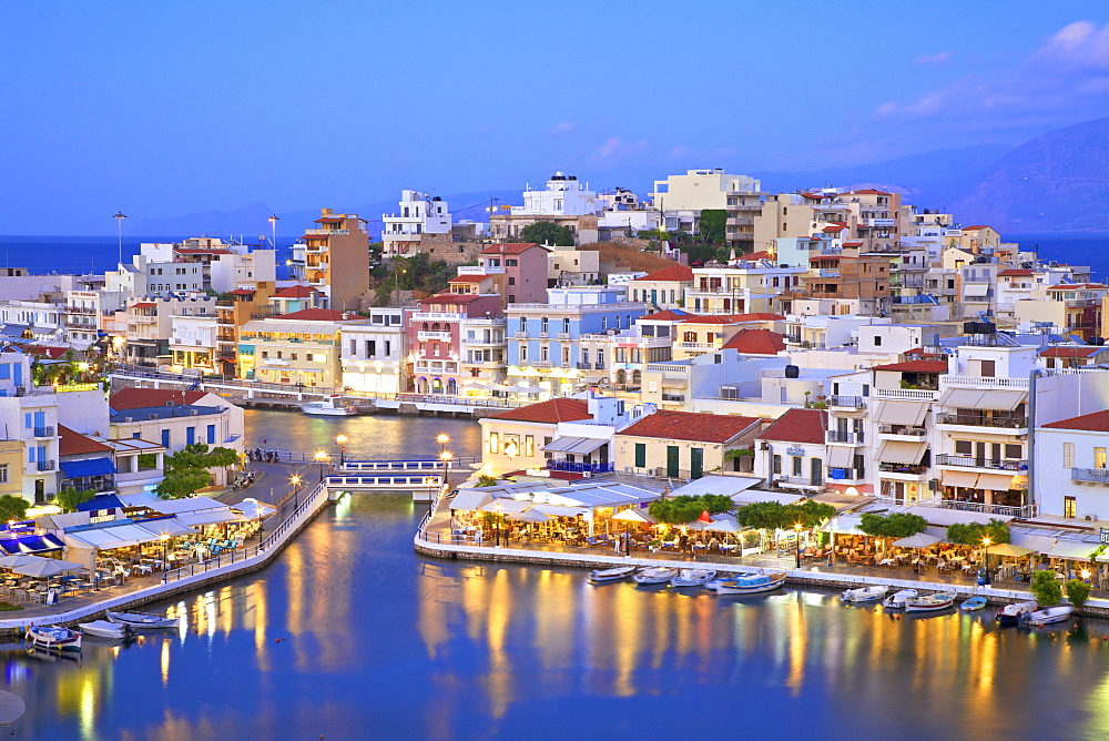 Agios Nikolaos Harbour from an elevated angle at dusk, Agios Nikolaos, Crete, Greek Islands, Greece, Europe - 1126-1588