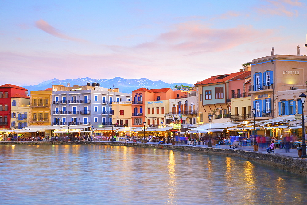 The Venetian Harbour at dusk, Chania, Crete, Greek Islands, Greece, Europe - 1126-1595