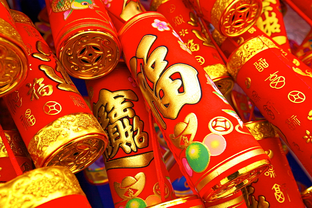 Imitation fire crackers used as Chinese New Year decorations, Hong Kong, China, Asia - 1126-1644