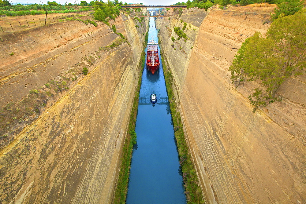 Corinth Canal, Corinth, The Peloponnese, Greece, Europe