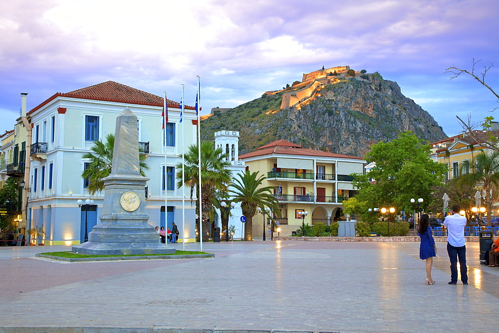 Filelinon Square and Palamidi Fortress at Dusk, Old Town of Nafplio, Argolis, The Peloponnese, Greece, Europe