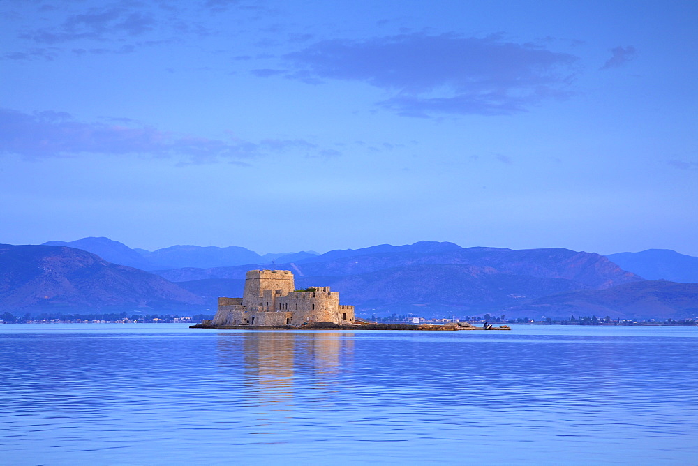 Bourtzi Castle at sunrise, Nafplio, Argolis, The Peloponnese, Greece, Europe