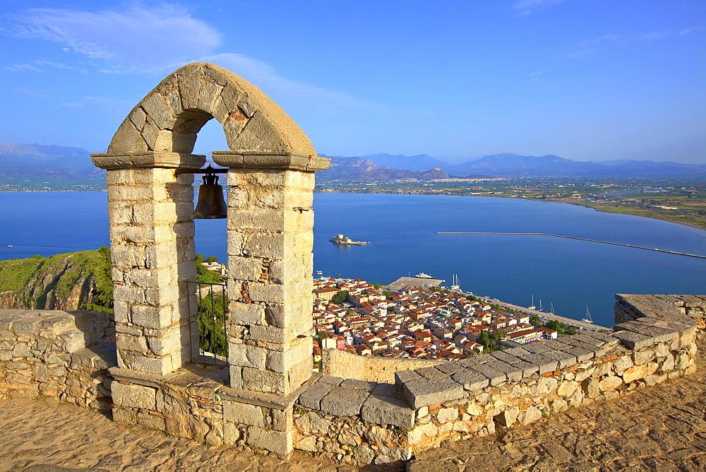 The Bell Tower at Palamidi Castle, Nafplio, Argolis, The Peloponnese, Greece, Europe
