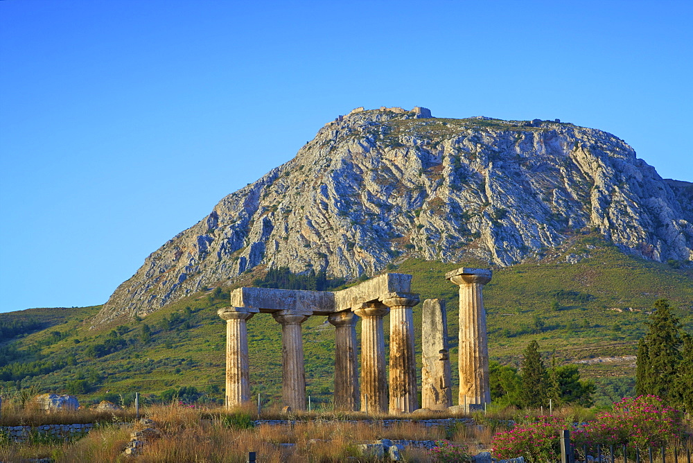 Temple of Apollo, Ancient Corinth, The Peloponnese, Greece, Europe