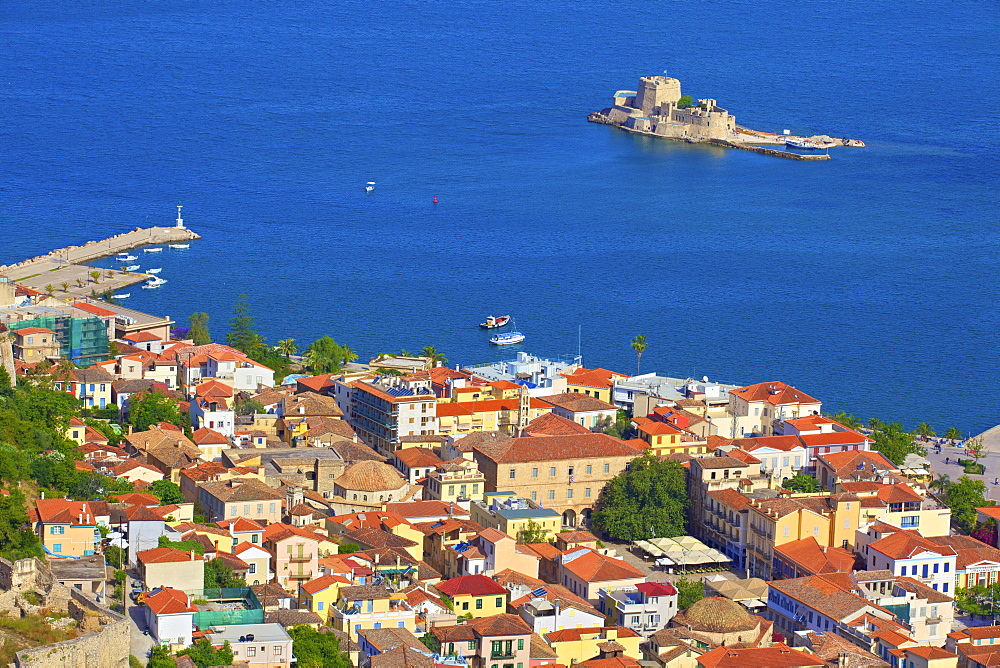 Bourtzi Castle and Nafplio Old Town from Palamidi Castle, Nafplio, Argolis, The Peloponnese, Greece, Europe