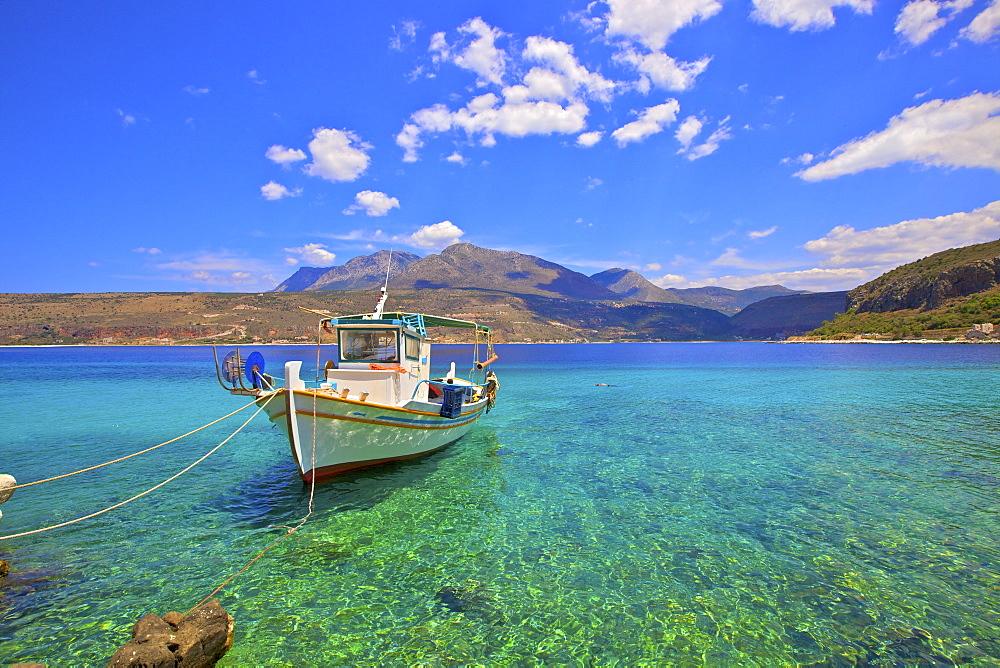 Fishing boat, Limeni, Mani Peninsula, The Peloponnese, Greece, Europe