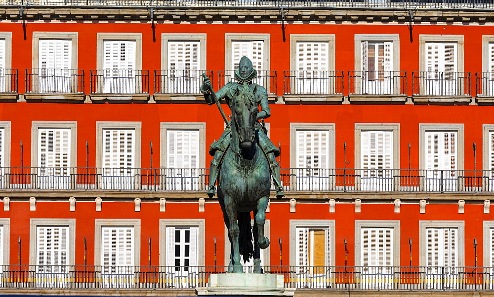 Statue of King Philip lll in the Plaza Mayor, Madrid, Spain, South West Europe