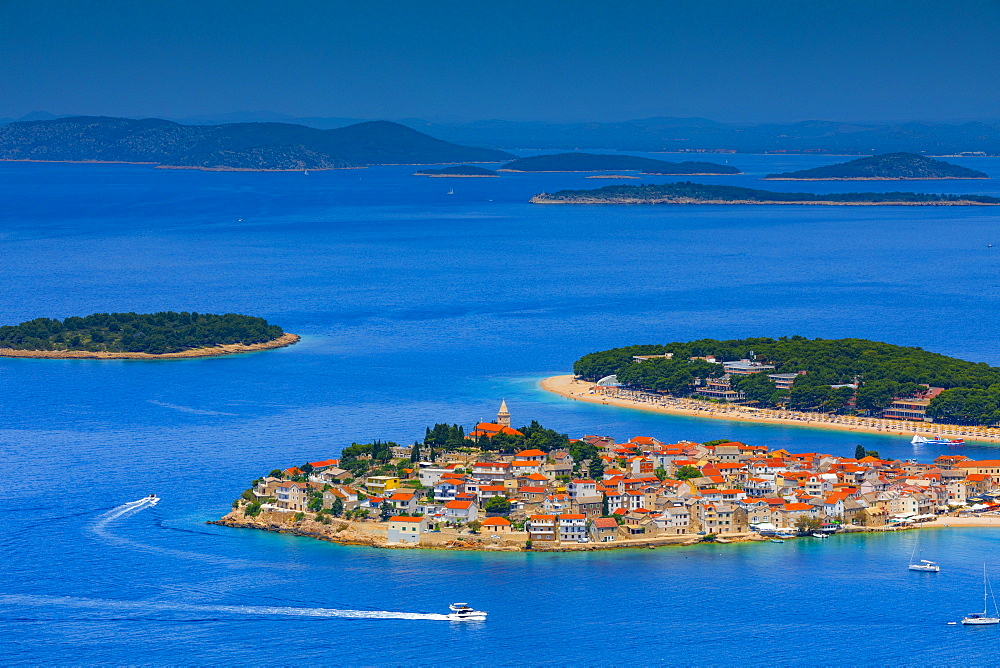 An elevated view of Primosten, Dalmatian Coast, Croatia, Europe