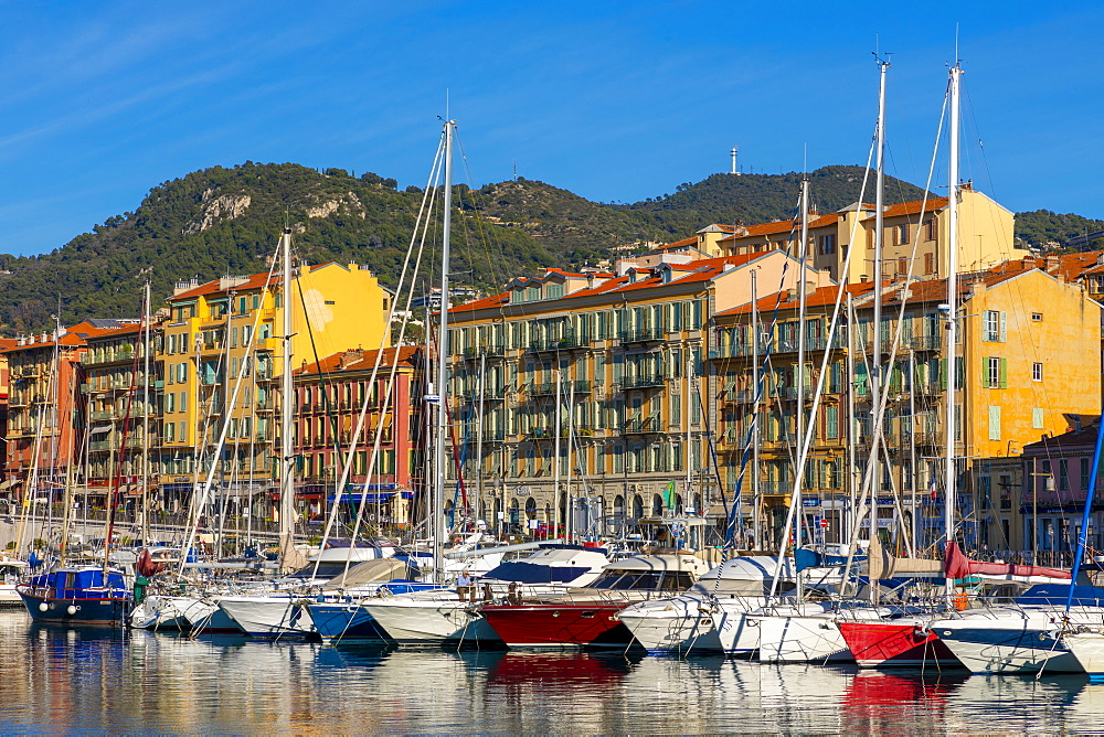Sailing boats in Port Lympia, Nice, Alpes-Maritimes, Cote d'Azur, French Riviera, Provence, France, Mediterranean, Europe