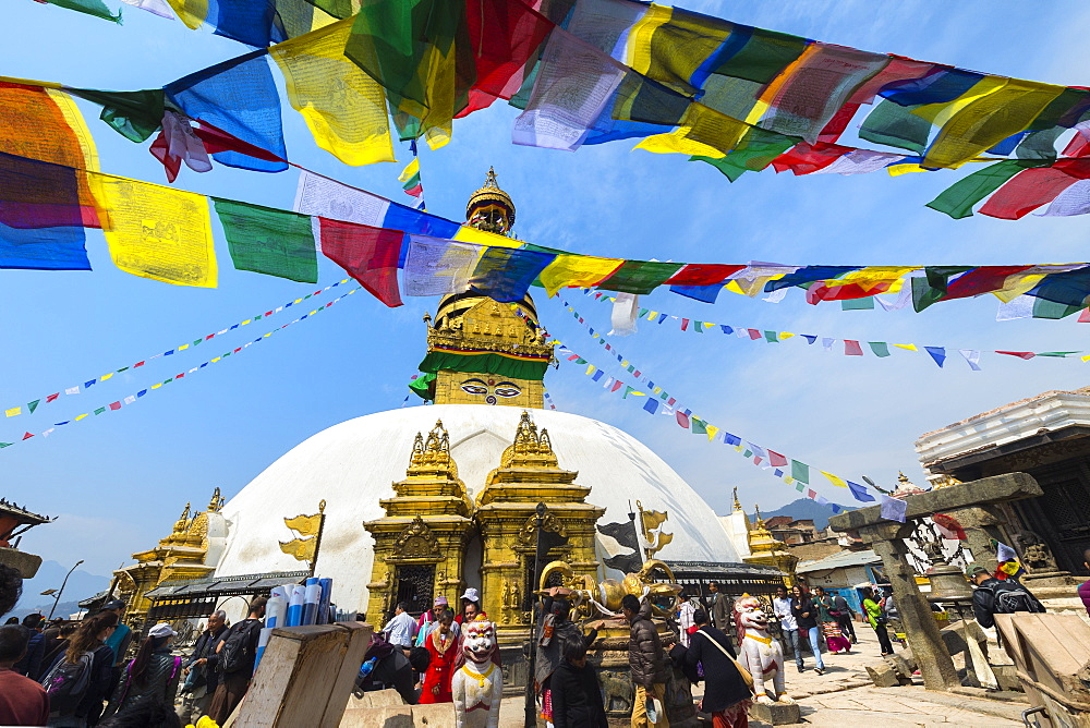 Swayambunath or Monkey Temple, Central Stupa and Buddha eyes, UNESCO World Heritage Site, Kathmandu, Nepal, Asia - 1131-1051