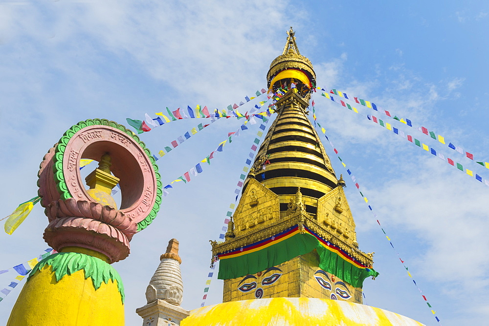Central Stupa and Buddha eyes, Swayambunath (Monkey Temple), UNESCO World Heritage Site, Kathmandu, Nepal, Asia