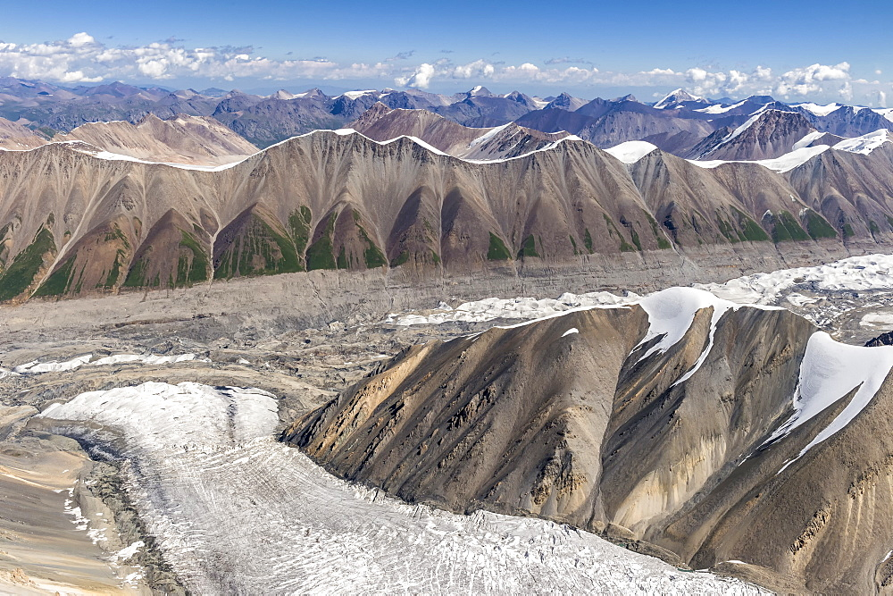 Aerial view over the Central Tian Shan Mountain range, Border of Kyrgyzstan and China, Kyrgyzstan, Central Asia, Asia - 1131-1056