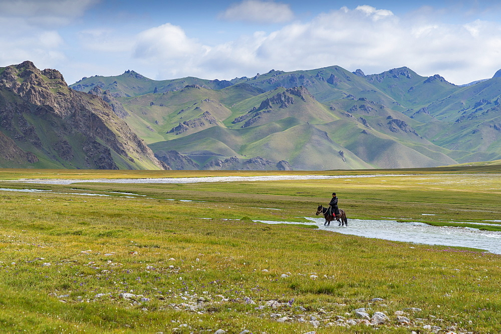 Horseman riding in Kurumduk valley, Naryn province, Kyrgyzstan, Central Asia, Asia - 1131-1062