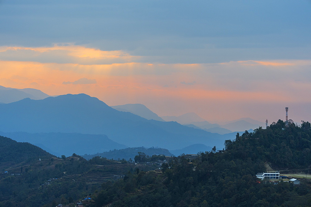 Sunrise over the Himalaya range, Dhampus, Nepal, Asia - 1131-1087