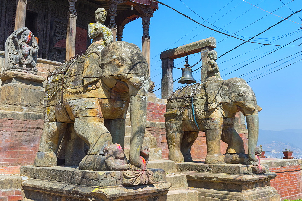 Ganesh Shrine, Uma Maheshwar Temple guarded by two stone elephants, Kirtipur, Nepal, Asia - 1131-1091