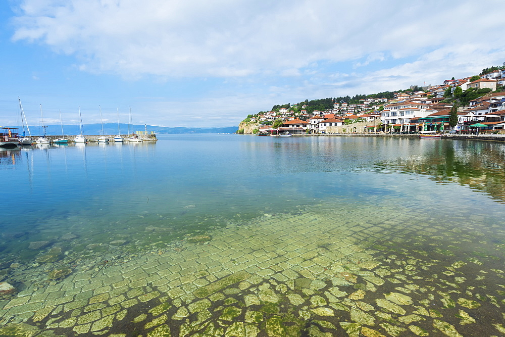 Ohrid old city reflected in the marina, Ohrid, UNESCO World Heritage Site, Macedonia, Europe - 1131-1136