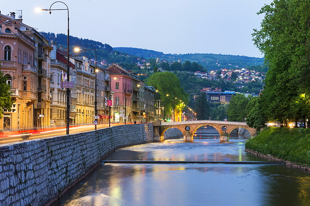 Latin bridge over the Miljacka river at sunset, Sarajevo, Bosnia and Herzegovina - 1131-1168