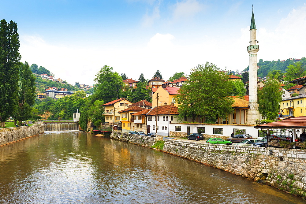Hajjis Mosque by Miljacka river in Sarajevo, Bosnia and Hercegovina, Europe