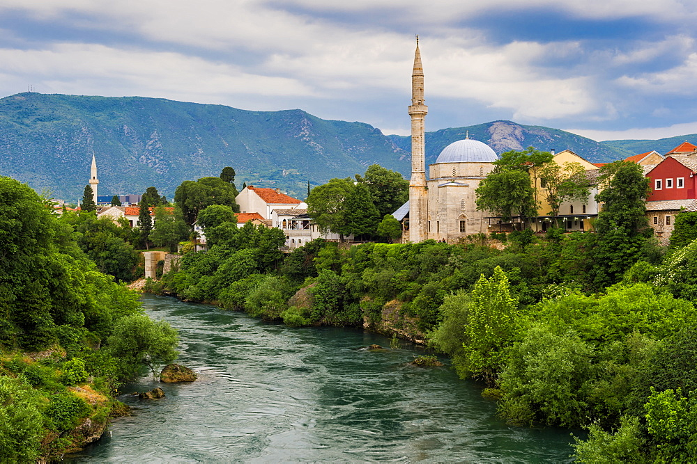 Koski Mehmet Pasa Mosque along the Neretva river, Mostar, Bosnia and Herzegovina