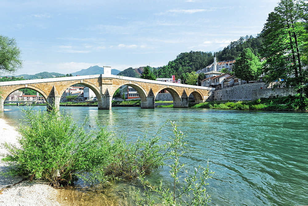Historic ottoman bridge over Neretva river, Konjic, Bosnia and Herzegovina - 1131-1173
