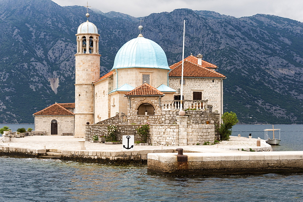 Our Lady of the Rocks Church erected on an artificial island, Kotor Bay, Perast, Montenegro - 1131-1181