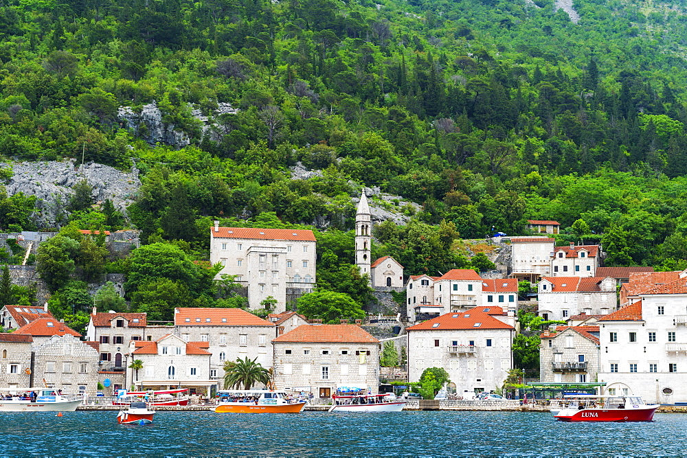 Perast waterfront in Montenegro, Europe