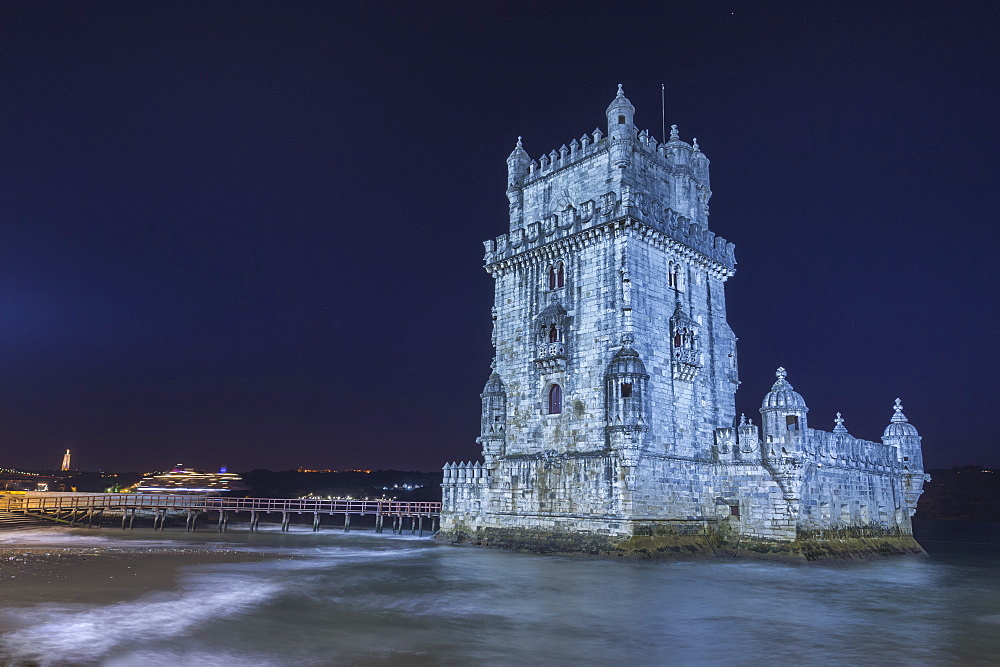 Cruise ship behind Torre de Belem (Belem Tower) (Tower of St. Vincent), UNESCO World Heritage Site, Belem, Lisbon, Portugal, Europe