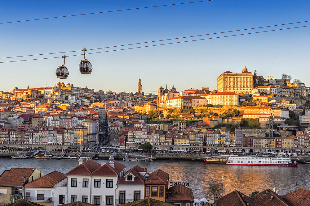 Sunset over Ribeira district and former Episcopal Palace, UNESCO World Heritage Site, Porto, Portugal, Europe