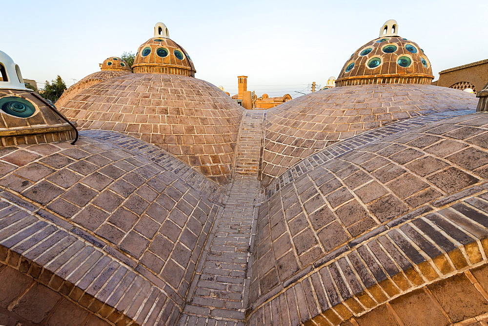 Sultan Amir Ahmad Bathhouse, roof domes at sunset, Kashan, Isfahan Province, Islamic Republic of Iran, Middle East - 1131-1272