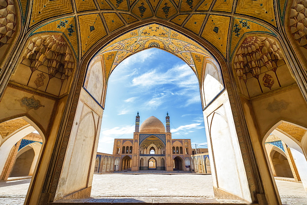 Agha Bozorg Mosque, Inner Courtyard, Kashan, Isfahan Province, Islamic Republic of Iran, Middle East - 1131-1284
