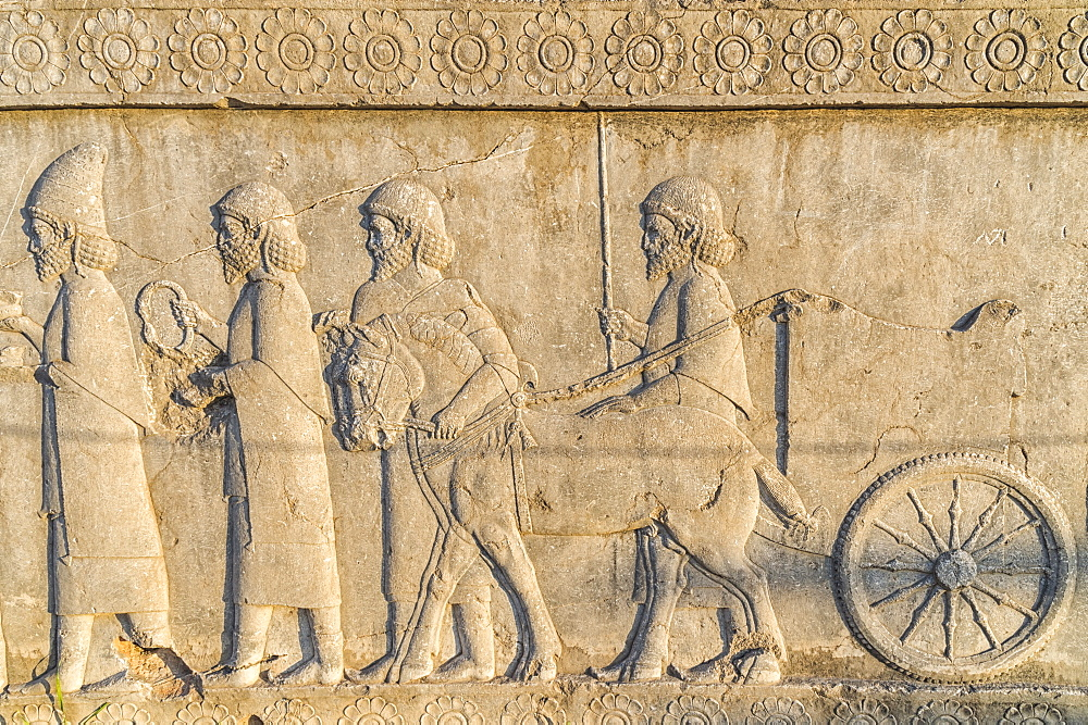 Apadana stairway facade, relief of the Achaemenids, Medes and Persians, Persepolis, UNESCO World Heritage Site, Fars Province, Islamic Republic of Iran, Middle East
