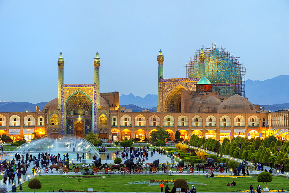 Masjed-e Imam Mosque at sunset, Maydam-e Iman square, UNESCO World Heritage Site, Esfahan, Iran, Middle East - 1131-1328