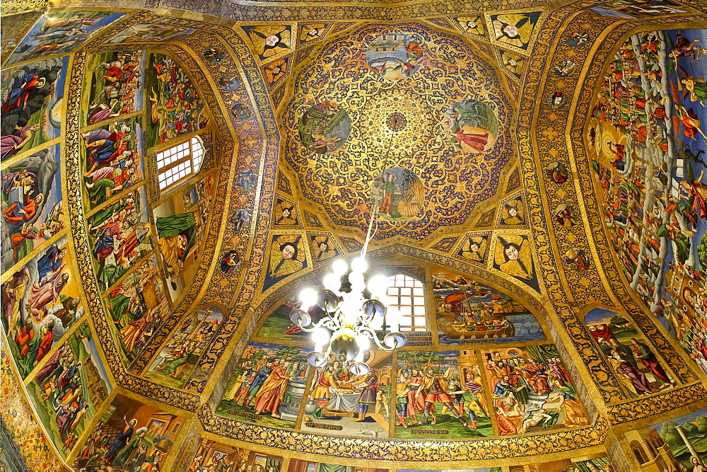 Interior, frescos representing scenes of the Bible, Holy Savior (Vank) Armenian Cathedral, Esfahan, Iran, Middle East - 1131-1334