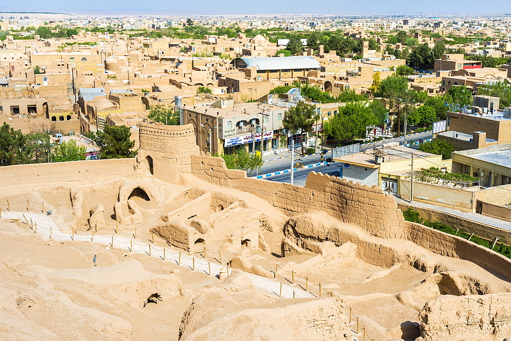 Narin Qaleh (Narin Ghaleh) ramparts and the city viewed from Meybod mud-brick fortress, Meybod, Yazd Province, Iran, Middle East