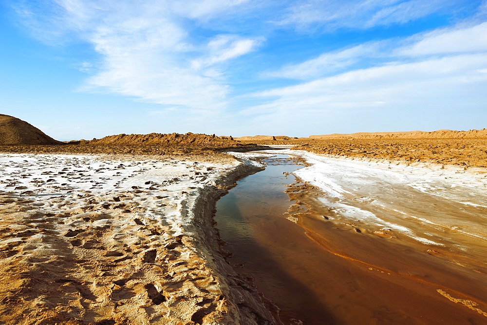 Stream flowing through the Dasht-e Lut (Lut Desert), World's hottest place, Kerman Province, Iran, Middle East