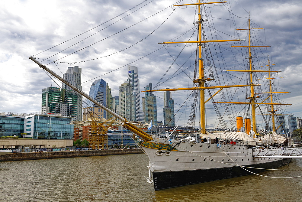View over the city skyline at Puerto Madero with the frigate Sarmiento, Buenos Aires, Argentina, South America