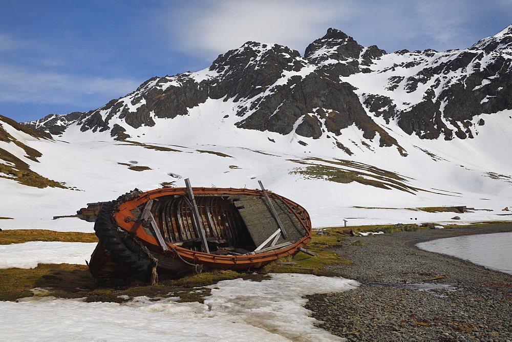 Whaleboat wreck, former Grytviken whaling station, King Edward Cove, South Georgia and the Sandwich Islands, Antarctica, Polar Regions
