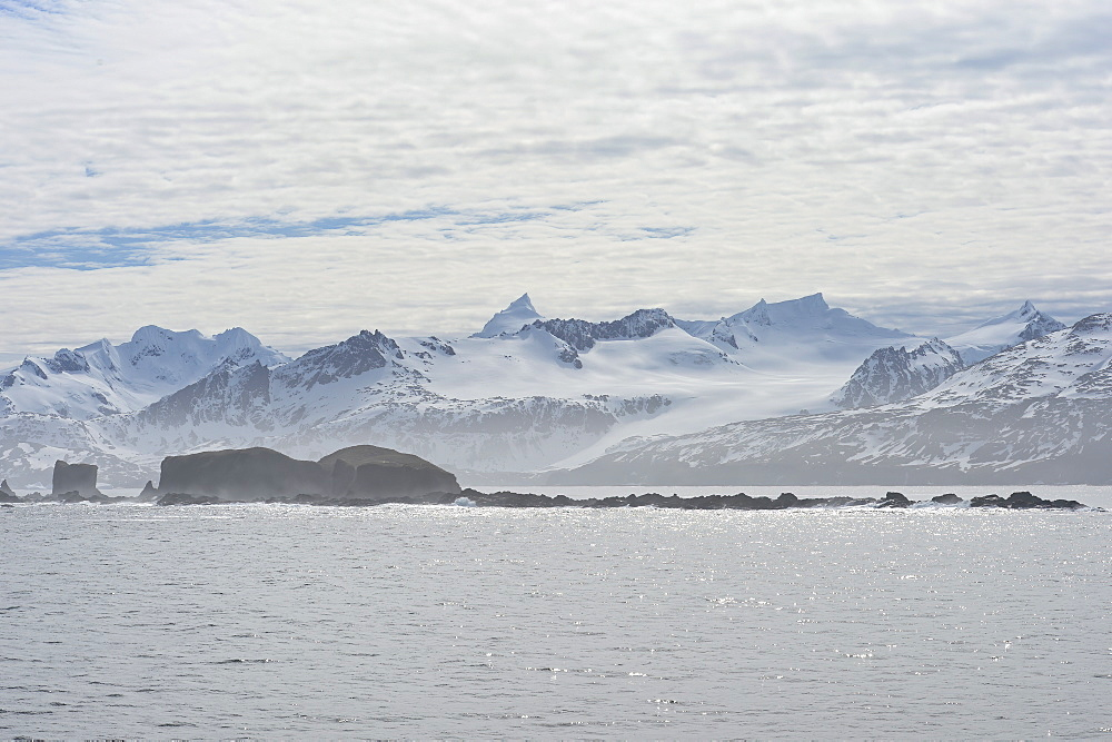 King Haakon Bay, snow covered mountains and glaciers, South Georgia, South Georgia and the Sandwich Islands, Antarctica, Polar Regions