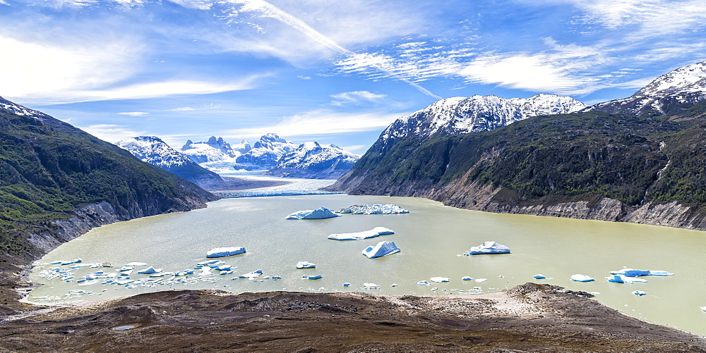 Glacial lake with small icebergs floating, Laguna San Rafael National Park, Aysen Region, Patagonia, Chile