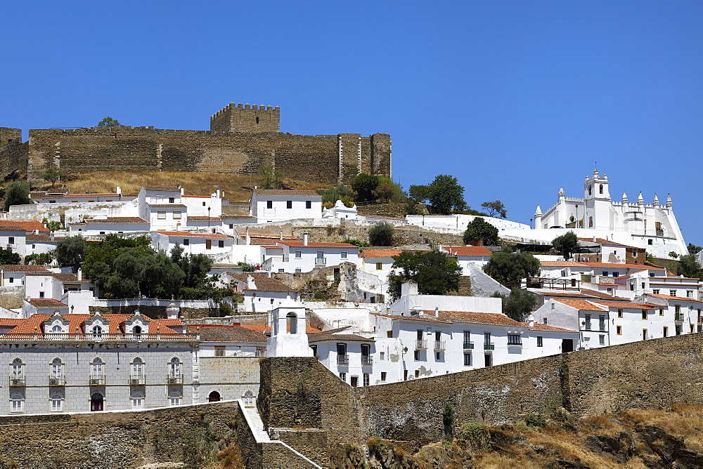 View over Mertola Castle and St. Mary's Church, Mertola, Alentejo, Portugal, Europe - 1131-1552