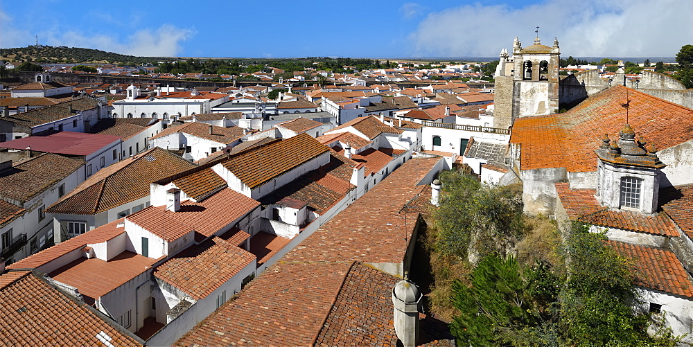 View over Serpa city and Santa Maria Church, Serpa, Alentejo, Portugal, Europe - 1131-1555