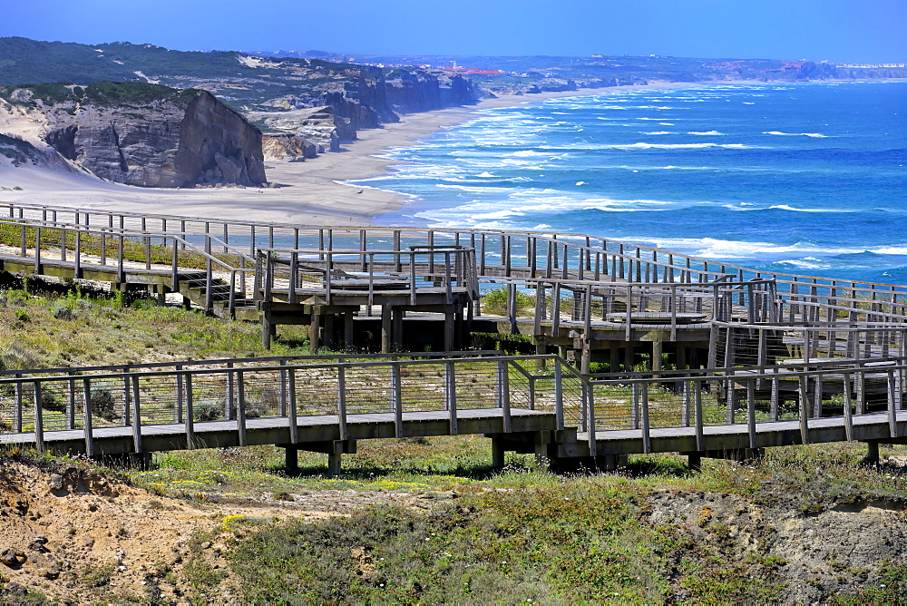 Boardwalk overlooking the Atlantic coast, Foz de Arelho, Leiria district, Portugal, Europe - 1131-1569