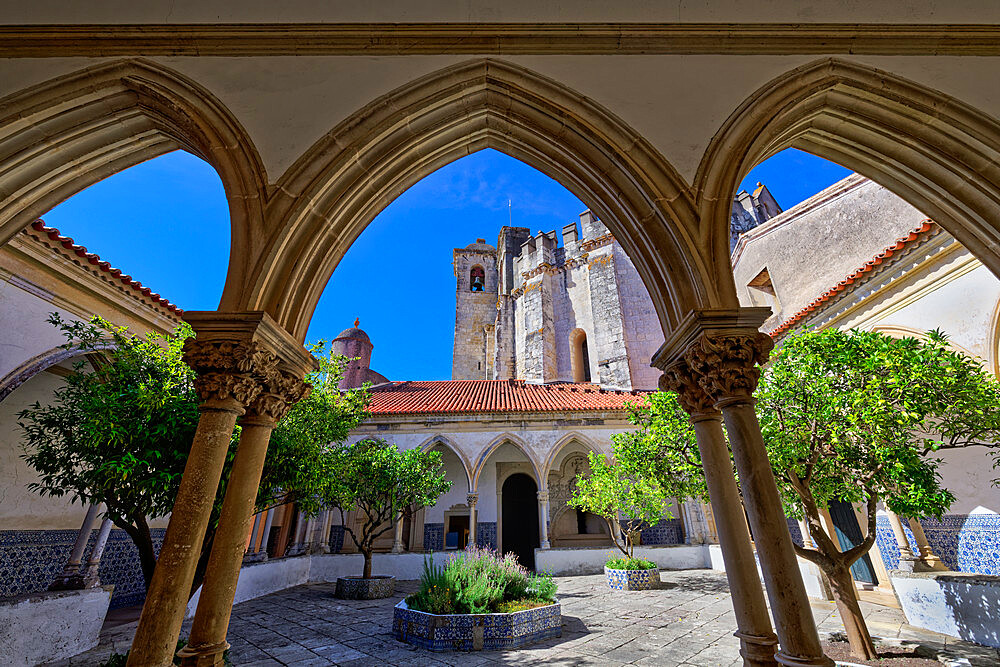 Cemetery cloister and rounded Templar Church, Castle and Convent of the Order of Christ (Convento do Cristo), UNESCO World Heritage Site, Tomar, Santarem district, Portugal, Europe - 1131-1585