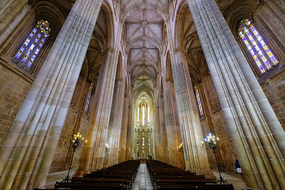 Interior, Dominican Monastery of Batalha (Saint Mary of the Victory Monastery), UNESCO World Heritage Site, Batalha, Leiria district, Portugal, Europe - 1131-1593