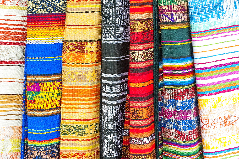 Otavalo market, traditional colourful textiles, Imbabura Province, Ecuador, South America