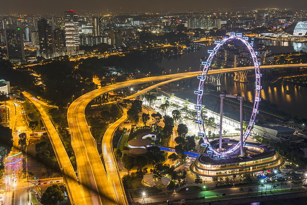 The Flyer at night, Singapore, Southeast Asia, Asia