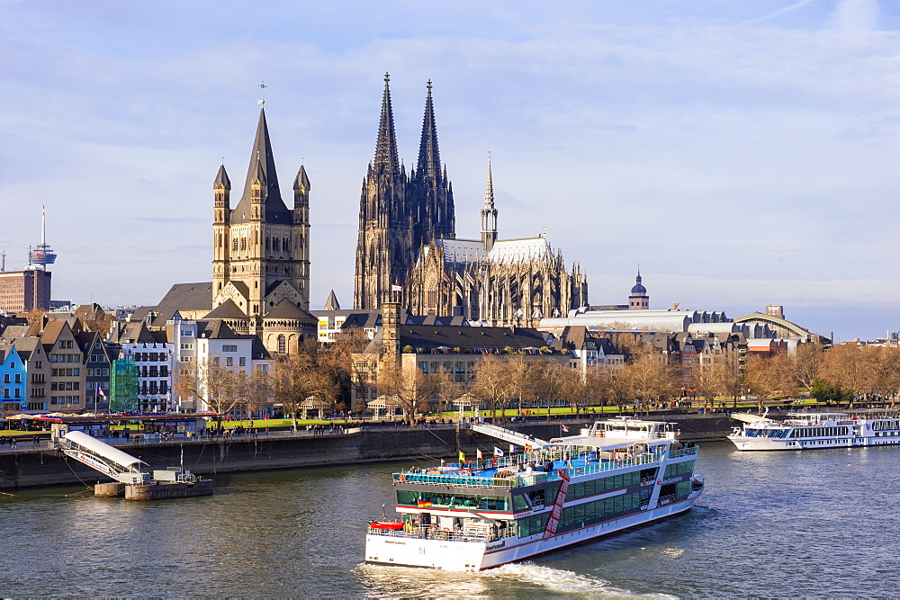Great Saint Martin Church and Cologne Cathedral, Cologne (Koln), North Rhine Westphalia, Germany, Europe