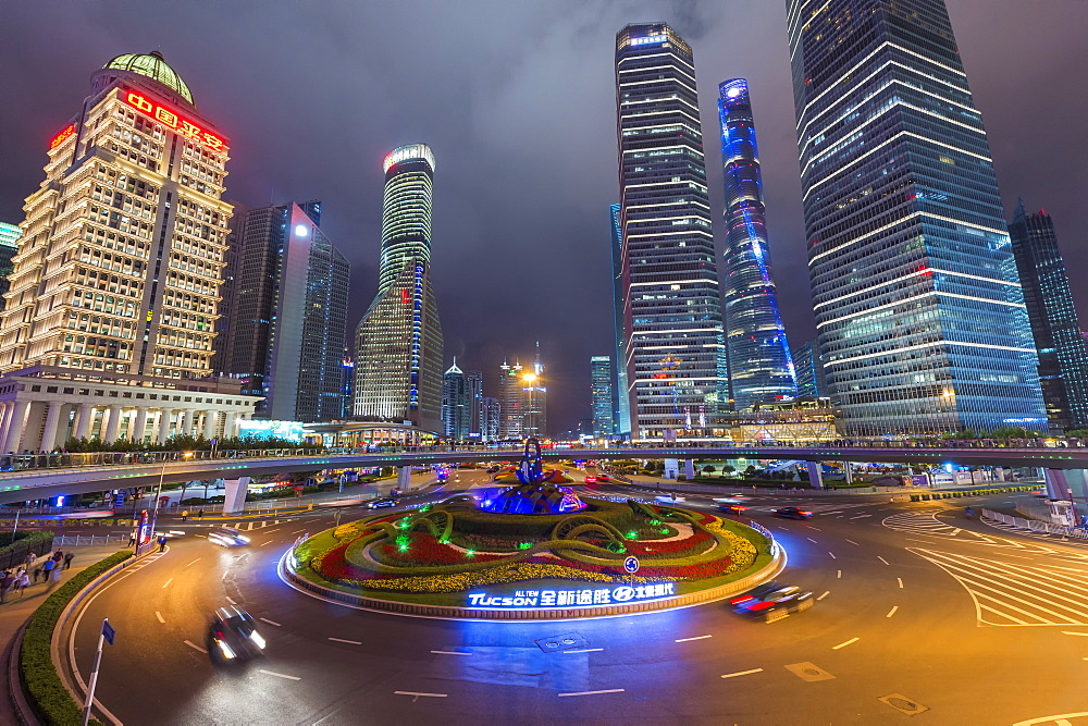 Pudong financial district at night, Shanghai, China, Asia
