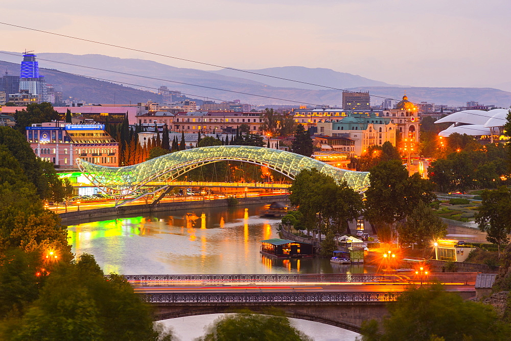 Tbilisi at dusk, Georgia, Caucasus, Middle East, Asia