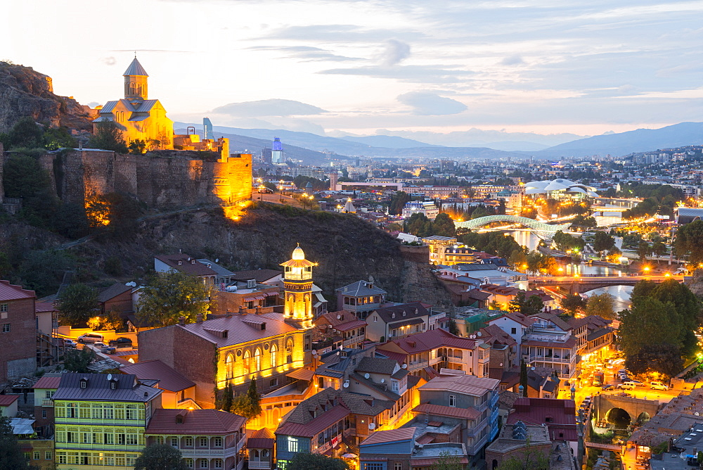 Tbilisi at night, Georgia, Caucasus, Middle East, Asia